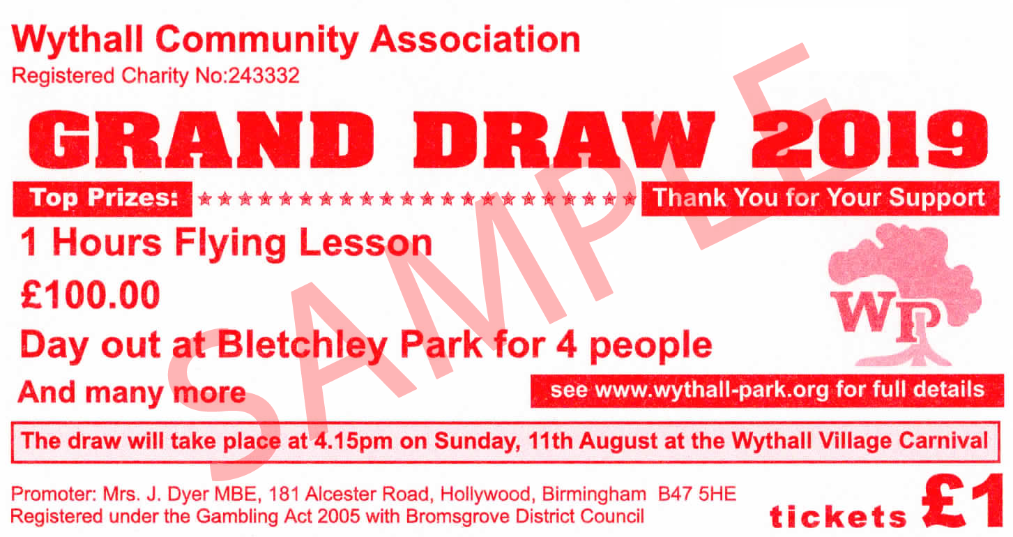 Wythall Community Association Grand Draw 2019 Tickets